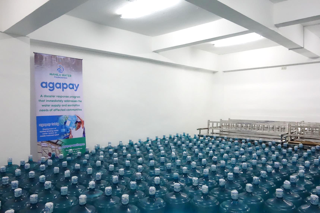 A total of 3,000 5-gallon bottles of water for affected families in Porac and Floridablanca under MWF's Agapay Tubig program