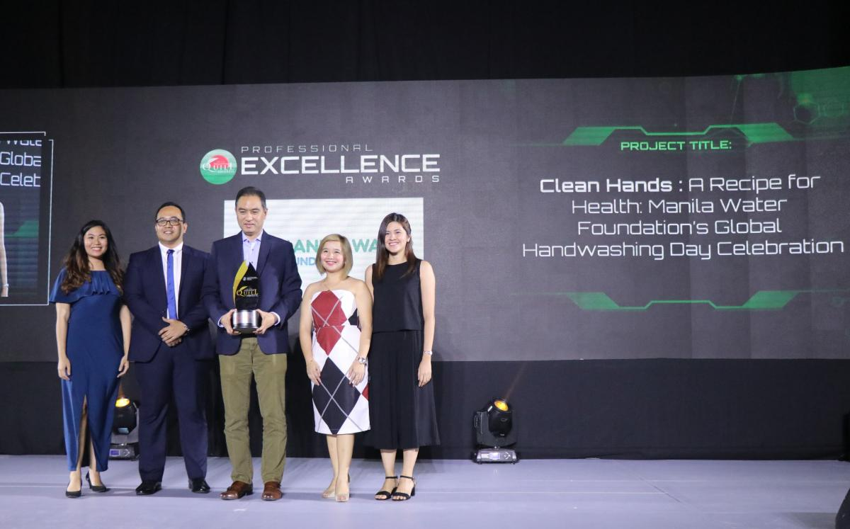 "Manila Water Foundation received the Award of Excellence for its entry ""Clean Hand--A Recipe for Health: The MWF Global Handwashing Day Celebration"" at the 17th Philippine Quill Awards."