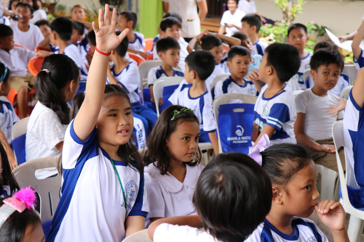 Student during Manila Water Foundation's Health in Our Hands session WASH