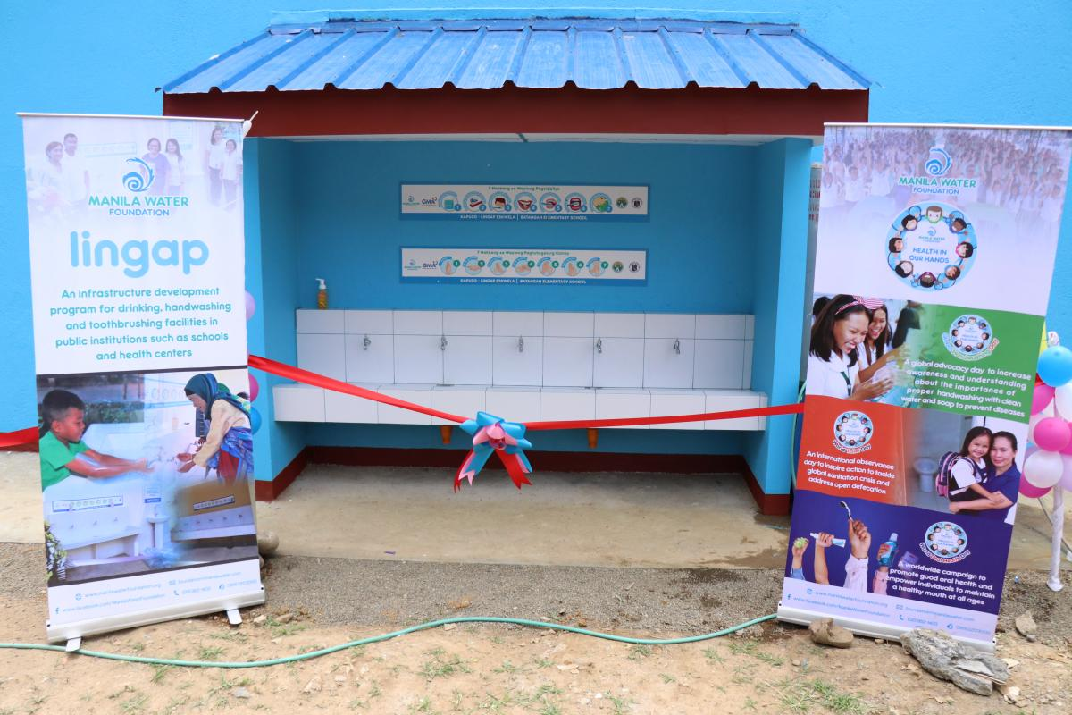 A 5-faucet hygiene facility from Manila Water Foundation under its Lingap program