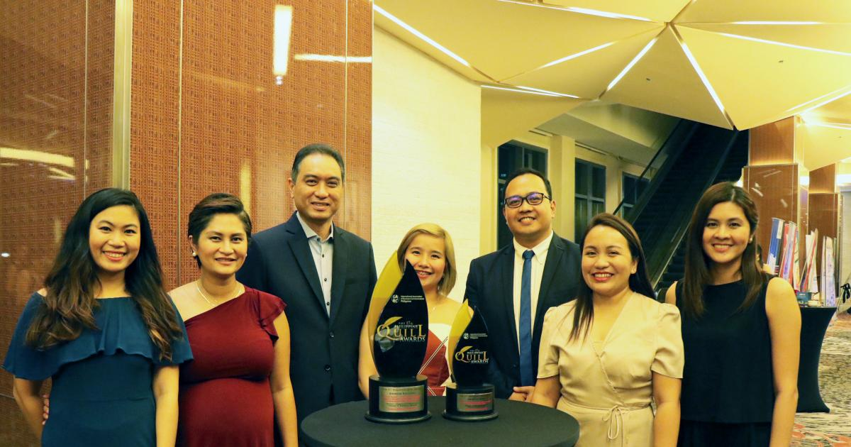 Manila Water Foundation received two awards from the prestigious 17th Philippine Quill Awards at the Marriott Hotel Grand Ballroom in Pasay City on August 30.