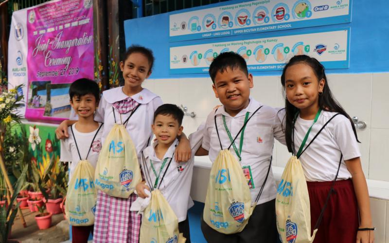 Manila Water Foundation, Manila Water Taguig - Pateros Business Area, and P&G Philippines build hygiene facilities and provide hygiene kits to kids in three Taguig schools.