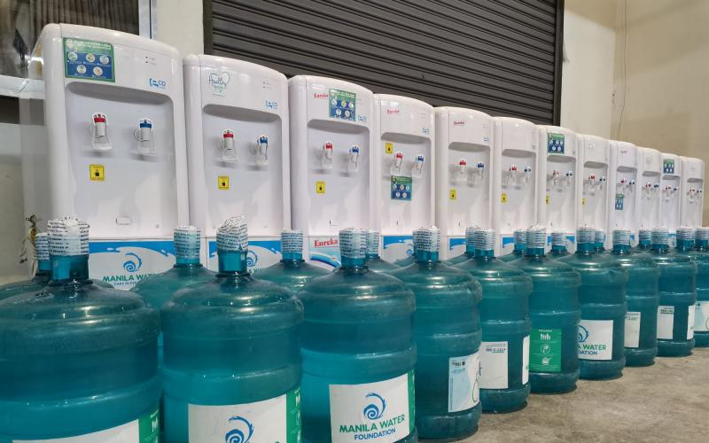 Manila Water Foundation donates 25 water dispensers and 50 units of 5-gallon bottled water to World Trade Center under its disaster response program, Agapay.